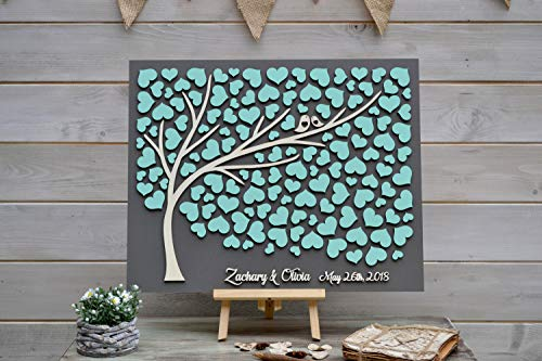 Custom 3D Wedding Guest Book Alternative Tree Wood Hearts Rustic Wedding Mint Guest Book Unique Guestbook Wooden Tree of Life Wedding Gift]()