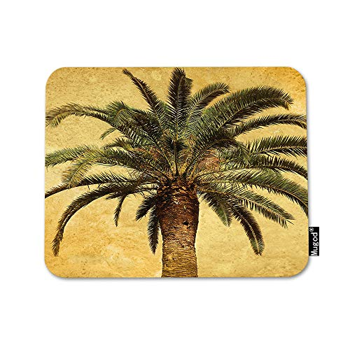 Mugod Palm Tree Mouse Pad Hawaiian Tropical Palms Leaf Vintage Green Yellow Mouse Mat Non-Slip Rubber Base Mousepad for Computer Laptop PC Gaming Working Office & Home 9.5x7.9 Inch (Palm Computer)