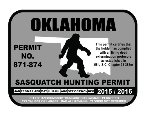 Oklahoma bigfoot hunting permits bigfoot gifts toys for Oklahoma non resident fishing license