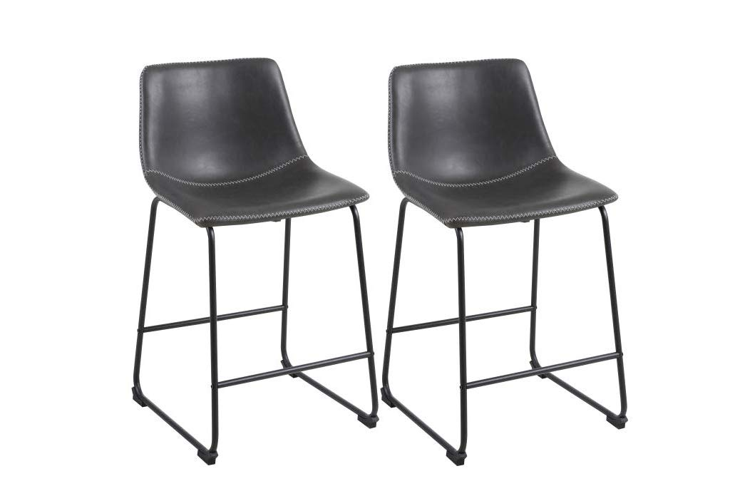 Phoenix Home Roundhill Furniture Lotusville Vintage PU Leather, Set of 2 Counter Height Stool, Gray by Phoenix Home