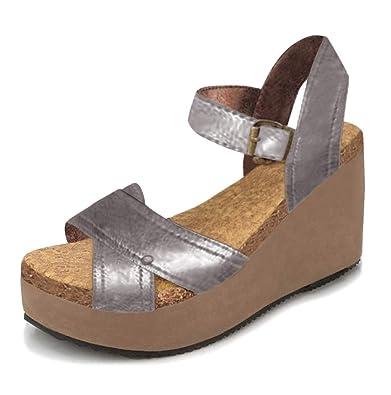 8e608d7b04793b Minetom Femme Mode Sandale Peep Toe Talon Compensé Casual Talons Hauts  Retro PU Été Chaussure Boucle