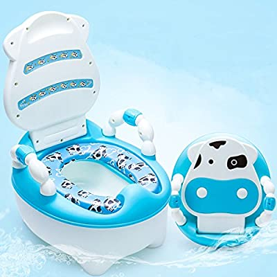 Lovely Cute Cow Potty Chair for Boys and Girls Toddler Potty Training Toilet (Blue)