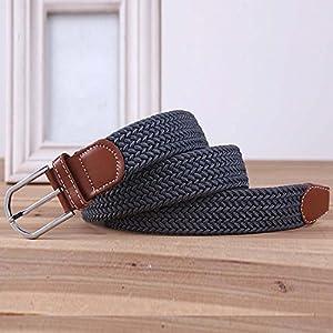 BMC Mens Wear 3pc Stretchy Woven Design Tricolor One Size Adjustable Belt Set