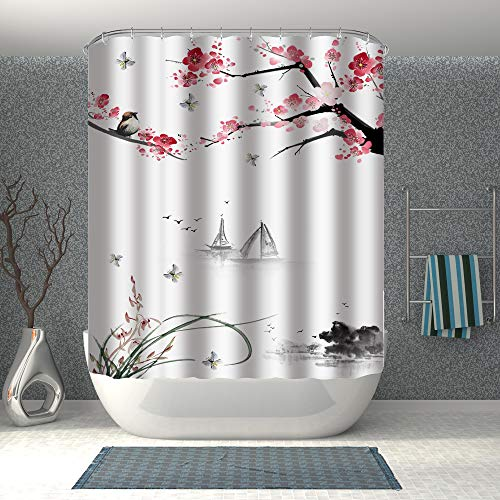 BROSHAN Asian Art Shower Curtain for Bathroom Set, Cherry Flower Blossom Branches Birds Butterfly Chinese Japanese Style Painting Effect, Scenic Fabric Bathroom Decor Set with Hooks, Black White Pink