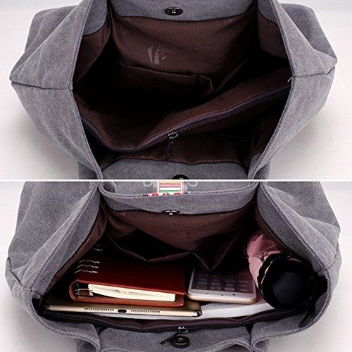 Casual Bag Shoulder Bag Top Work Hobo Shopping Handle Fanspack Bag Women's Tote Bag Grey Canvas wqzFA18