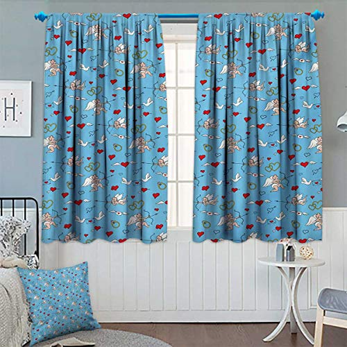 Chaneyhouse Angel Blackout Window Curtain Romantic Love Mythological Eros with Arrows Hearts Marriage Engagement Rings Customized Curtains 72