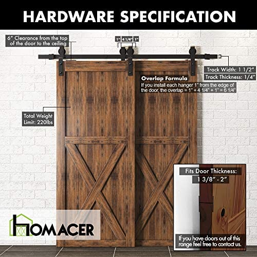 Amazon Com Homacer Sliding Barn Door Hardware Single Track Bypass Double Door Kit 5ft Flat Track Classic Design Roller Black Rustic Heavy Duty Interior Exterior Use Home Improvement