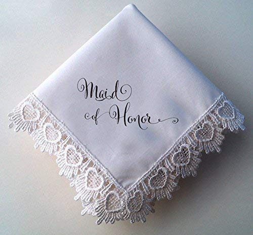 Maid of Honor Wedding Handkerchief, Hearts Lace Hankie with Printed Calligraphy Script
