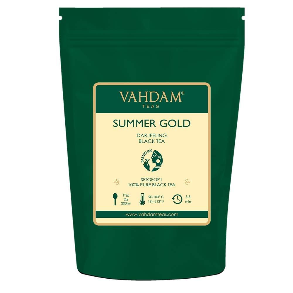 VAHDAM, Summer Gold Darjeeling Second Flush (50 Cups) | STRONG & ROBUST DARJEELING TEA Loose Leaf | 100% PURE UNBLENDED Black Tea Loose Leaf | Brew as Hot Tea, Iced Tea or Latte | 3.53oz by VAHDAM