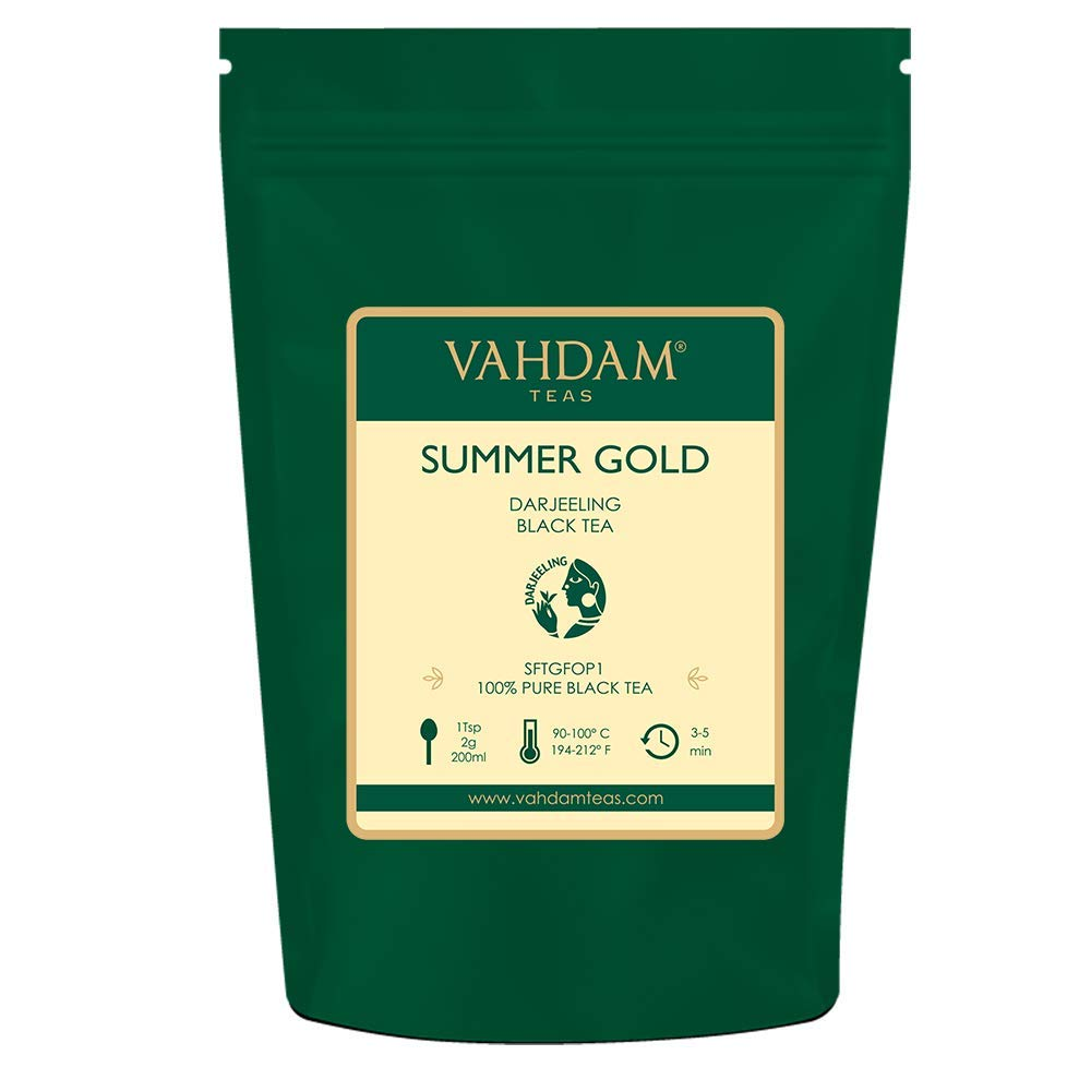 VAHDAM, Summer Gold Darjeeling Second Flush (50 Cups)   STRONG & ROBUST DARJEELING TEA Loose Leaf   100% PURE UNBLENDED Black Tea Loose Leaf   Brew as Hot Tea, Iced Tea or Latte   3.53oz