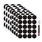 Nardo Visgo Round Chalkboard Labels-128 Reusable Chalkboard Stickers with 3MM White Chalk Marker for Labeling Jars,Canisters and Organize Your Home,Kitchen and Office