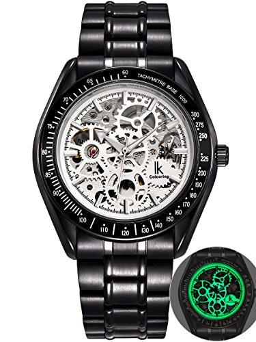 Alienwork IK Lumineux mechanische Automatik Armbanduhr Skelett Automatikuhr Uhr Leuchtzifferblatt weiss schwarz Metall 98545G-S-02