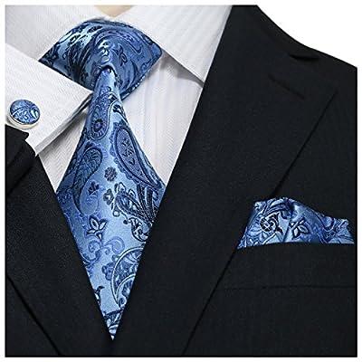 Landisun SILK Various Paisley Pattern Mens SILK Tie Set: Necktie+Hanky+Cufflinks