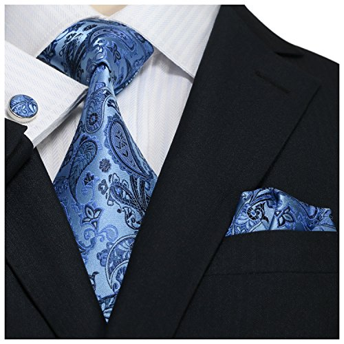 "Landisun SILK Paisleys Mens SILK Tie Set: Tie+Hanky+Cufflinks 36A Bright Blue, 3.25""Wx59""L"