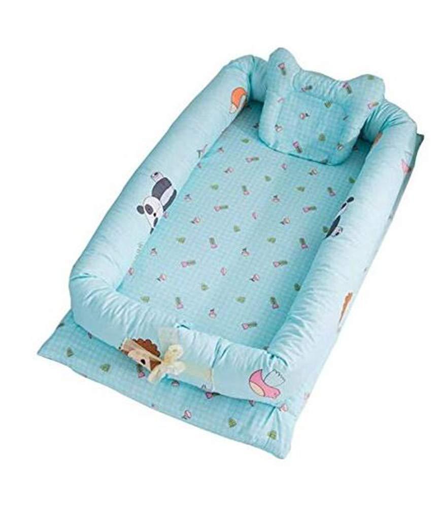 EXQUILEG Multifunktionales tragbares Babynest Kuschelnest Faltbett Reisebett-Baumwolle, 90x55x15cm (A)