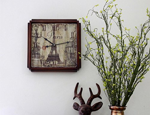 Vintage France Paris roman numerals French Country Tuscan style Paris square wood Non-Ticking Silent Wooden Wall Clock -16inch