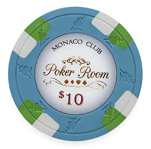 Pack of 50 Monaco Club Poker Chips, Heavyweight 13.5-gram Clay Composite by Claysmith Gaming ($10 Blue)