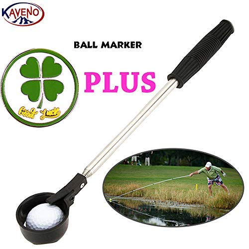 kaveno Portable Telescopic Golf Ball Retriever Pick Up Scoop Stainless Steel Shaft Tool (Ball Retriever) ()