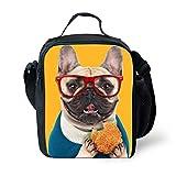 Yellow Bulldog Animals Stylish Picnic Thermal Bag for Girls Sannovo