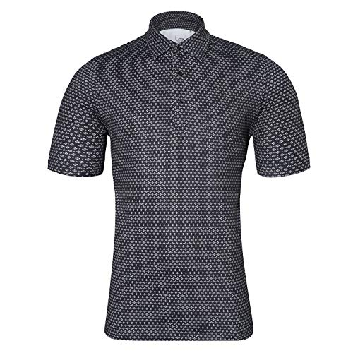 EAGEGOF Regular Fit Men's Shirt Stretch Tech Performance Golf Polo Shirt Short Sleeve 2XL Square Printing Black ()