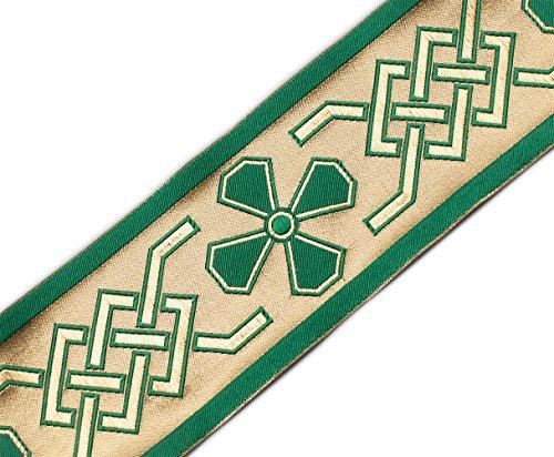 Wide Jacquard Trim Celtic Church Gold Green. 3¾