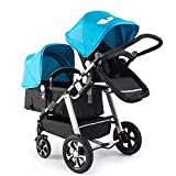 Twin Baby Stroller, high Landscape Modular Folding Stroller Five-Point seat Belt Three-Speed Adjustable for 0-3 Years Old Baby Bearing 55 pounds,C