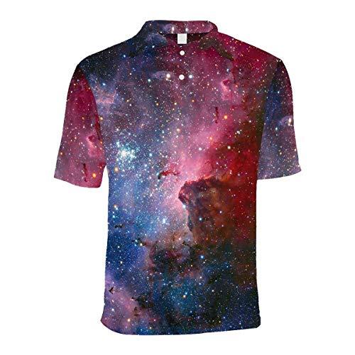 InterestPrint Carina Nebula in Infrared Light Men's Shirt, Short Sleeve Button Down Casual Beach Shirt L