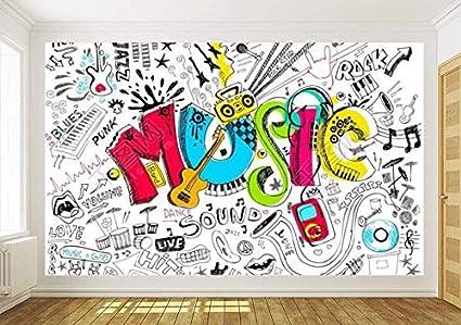 Carta Da Parati Murales.Wallpaper Camera Da Letto Carta Da Parati Home Decor 3d Music Graffiti Sketch Doodle Carta Da Parati Autoadesiva Decalcomanie Per Murales Per Soggiorno 300cmx210cm Amazon It Fai Da Te