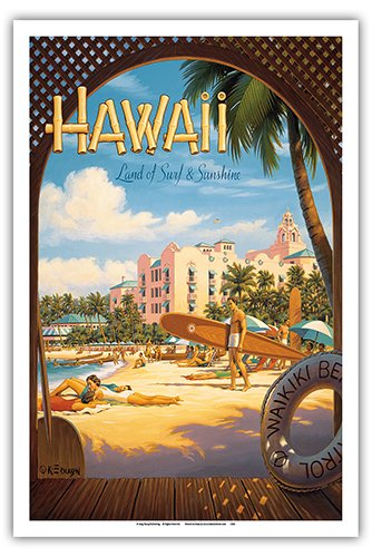 (Hawaii, Land of Surf & Sunshine - Waikiki Beach - The Royal Hawaiian Hotel (Pink Palace of The Pacific) - Vintage Style Hawaiian Travel Poster by Kerne Erickson - Master Art Print - 12 x 18in)