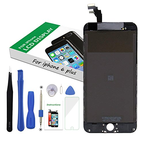 Screen Replacement LCD Display 3D Touch Screen Digitizer for iPhone 6 Plus 5.5 inch Black Frame Assembly Set with Repair Tools by i DIY