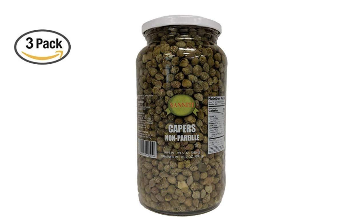 Sanniti Spanish Non Pareil Capers in Vinegar and Salt Brine - 33.5 oz (3 Pack)
