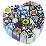 GlassOfVenice Murano Glass Millefiori Heart Paperweight - Medium