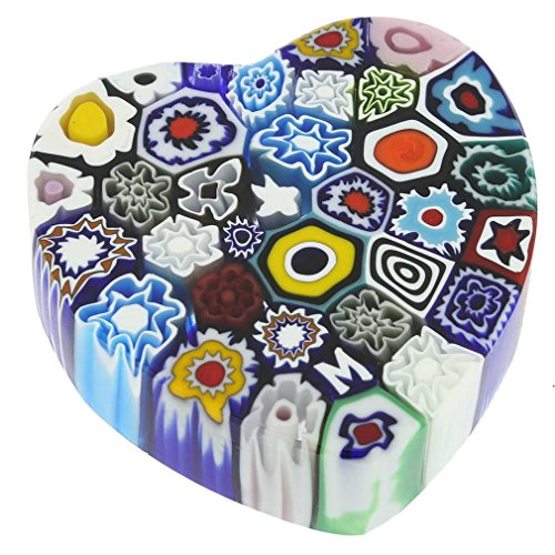 (GlassOfVenice Murano Glass Millefiori Heart Paperweight - Medium)