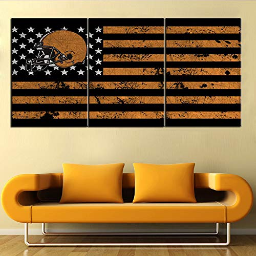 ecor Cleveland Browns Paintings for Living Room Stars Stripe Pictures Patriotism Wall Art on Canvas Modern Artwork for House Framed Ready to Hang Posters and Prints(42''Wx20''H) ()