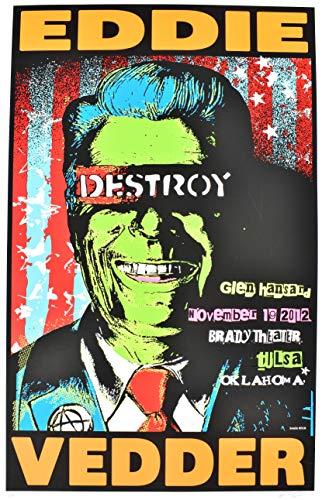 (oddtoes concert posters and music memorabilia Eddie Vedder Poster 2012 Tulsa Ronald Reagan)