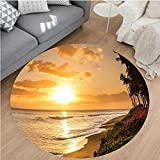 Nalahome Modern Flannel Microfiber Non-Slip Machine Washable Round Area Rug-s Warm Tropical Sunset On Sands Of Kaanapali Beach in Maui Hawaii Destination For Travel area rugs Home Decor-Round 79''