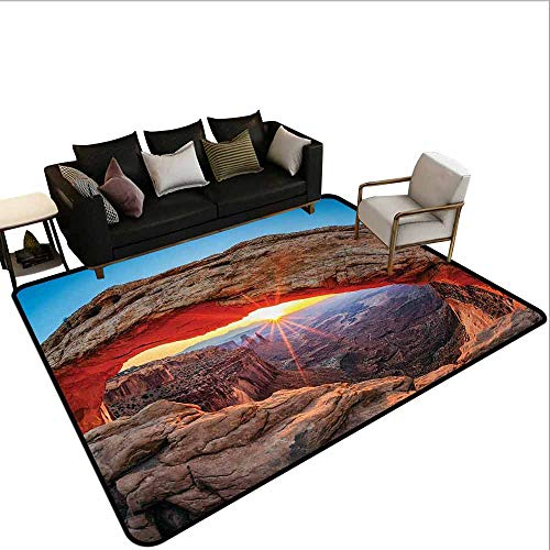 (AlEASYHOME Home DéCor Area Rug, Famous Sunrise at Mesa Arch in Canyonlands National Park, Utah, USA, 3.2′x5.2′ Personlized Custom Rugs, Sky Blue Amber Light Brown)