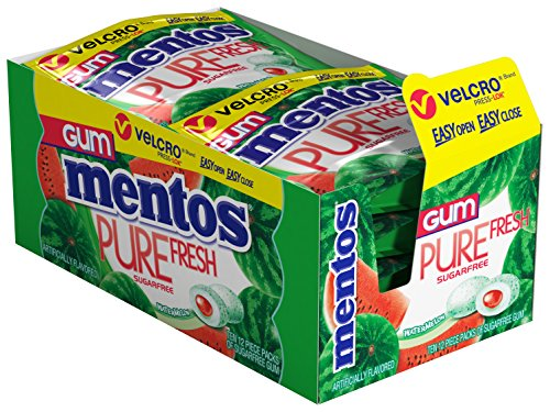Mentos Pure Fresh Sugar-Free Chewing Gum with Xylitol, Watermelon, Stocking Stuffer, Gift, Holiday, Christmas, 12 Piece Resealable Pouch (Pack of 10) (Watermelon Xylitol)
