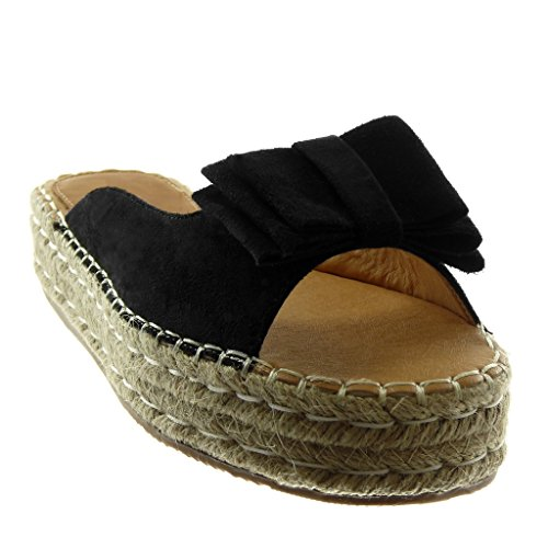 Platform cm Cord Platform Black Shoes on Node Mules Women's Knot 4 Braided Fashion Sandals Slip Wedge Angkorly qOUfZw0