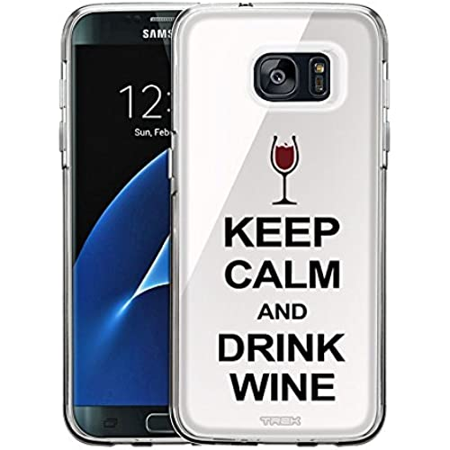 Samsung Galaxy S7 Edge Case, Snap On Cover by Trek KEEP CALM and Drink Wine on White One Piece Trans Case Sales