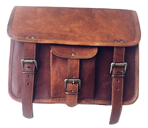 vintage crafts Genuine Goat Leather Messenger Satchel Motorcycle Tool Bag Brown Handlebar Sissy bar Travel Bag Saddlebags Panniers ()