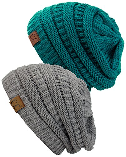 C.C Trendy Warm Chunky Soft Stretch Cable Knit Beanie Skully, 2 Pack Teal/Light Melange Gray
