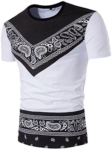 Papijam Mens Ethnic Print Short Sleeve T-Shirt Slim Crewneck Tops Tee White Small
