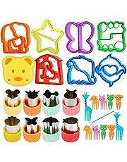 26-delat smörgåsskärarset för barn, grönsaks- och kakskärare med komfortgrepp, fruktskärare i rostfritt stål, tecknade djur, Bento matskärarstämplar, brödskärare med 10 tecknade serie-gafflar