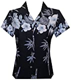 Alvish Hawaiian Shirt Women Bamboo Tree Print Aloha Beach Top Blouse Swim