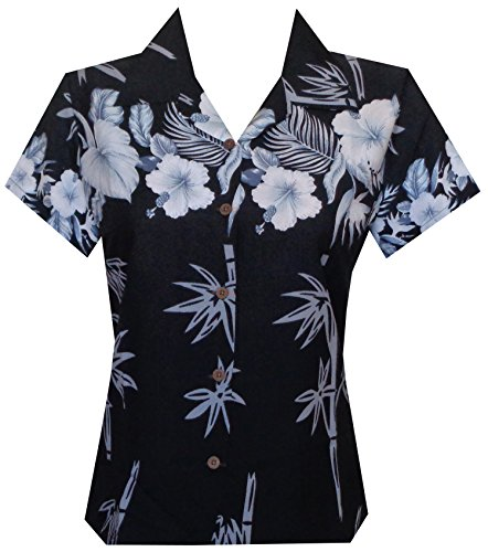 Alvish Hawaiian Shirt 35W Women Bamboo Tree Print Aloha Beach Top Blouse Black XL