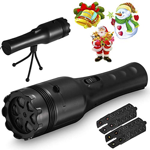 Pattern Projection Flashlight, AIVANT Flashlight LED Projector Lamp with 12 Pcs Different Themes Pattern Projection Cards, Ideal to Decorate The Scene for Christmas, Halloween, Birthday and -