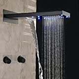 Huanyu Instrument LED Waterfall Rain Shower Head Faucet Oil Rubbed Bronze Double Handles Mixer Tap