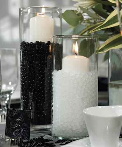 JellyBeadZ Brand Centerpiece Wedding Tower Vase Filler - Makes 12 Gallons (Bulk 1 Pound Package) (Beads, White)