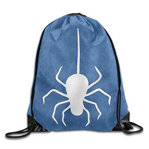 White color Spider Cool Drawstring Backpack String Bag]()